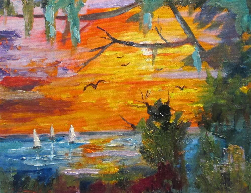 """Sunset Sail"" original fine art by Delilah Smith"