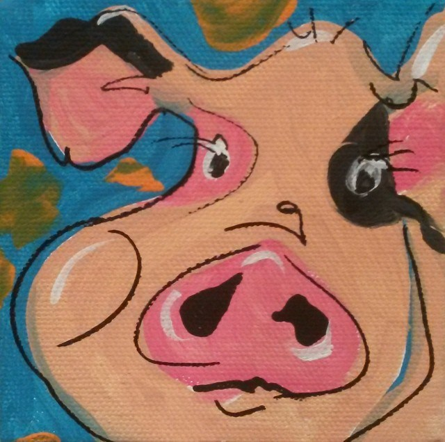 """""""Happy Pig"""" original fine art by Terri Einer"""