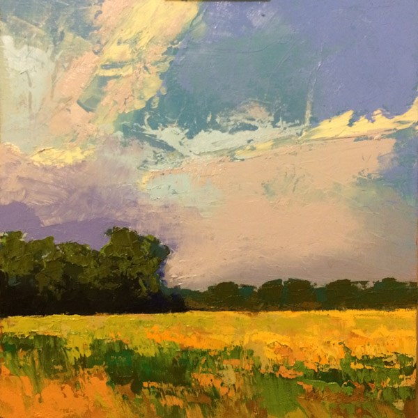 """""""Hayfield with Storm"""" original fine art by Mary Gilkerson"""