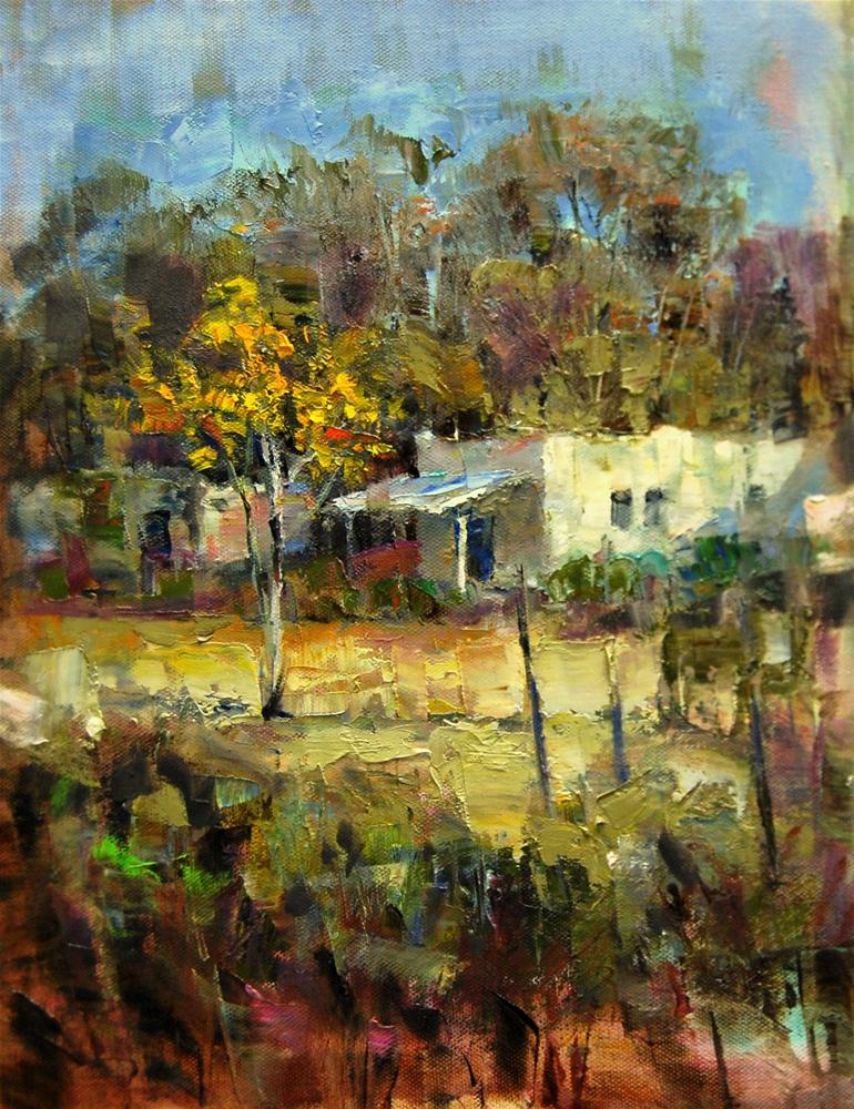 """Continuing...House in the Valley"" original fine art by Julie Ford Oliver"