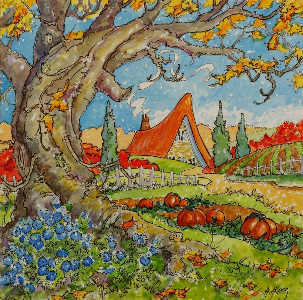 """Autumn Pleasures Storybook Cottage Series"" original fine art by Alida Akers"