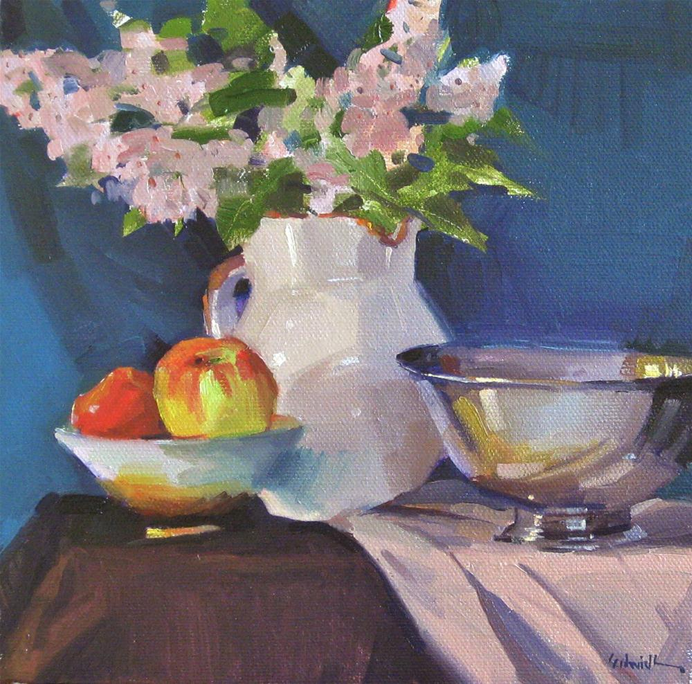 """""""White Pitcher of Lilacs floral flower still life daily painting one dollar auction"""" original fine art by Sarah Sedwick"""