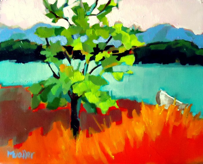 """The Little Boat and a Tree"" original fine art by Laurie Mueller"