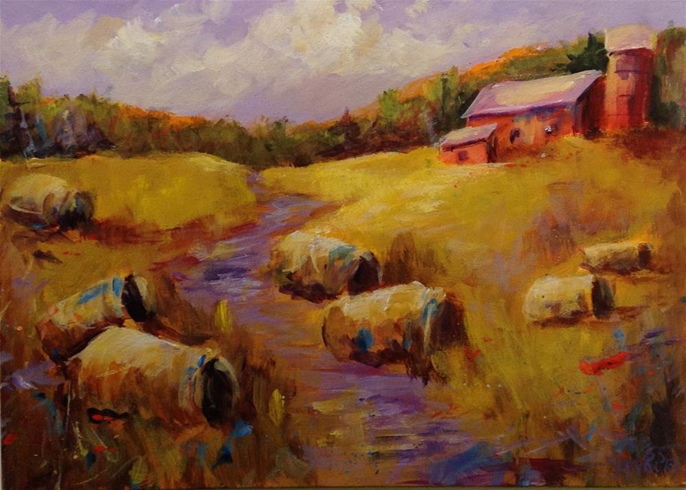 """""""Original acrylic Indiana barn landscape country haystack"""" original fine art by Alice Harpel"""