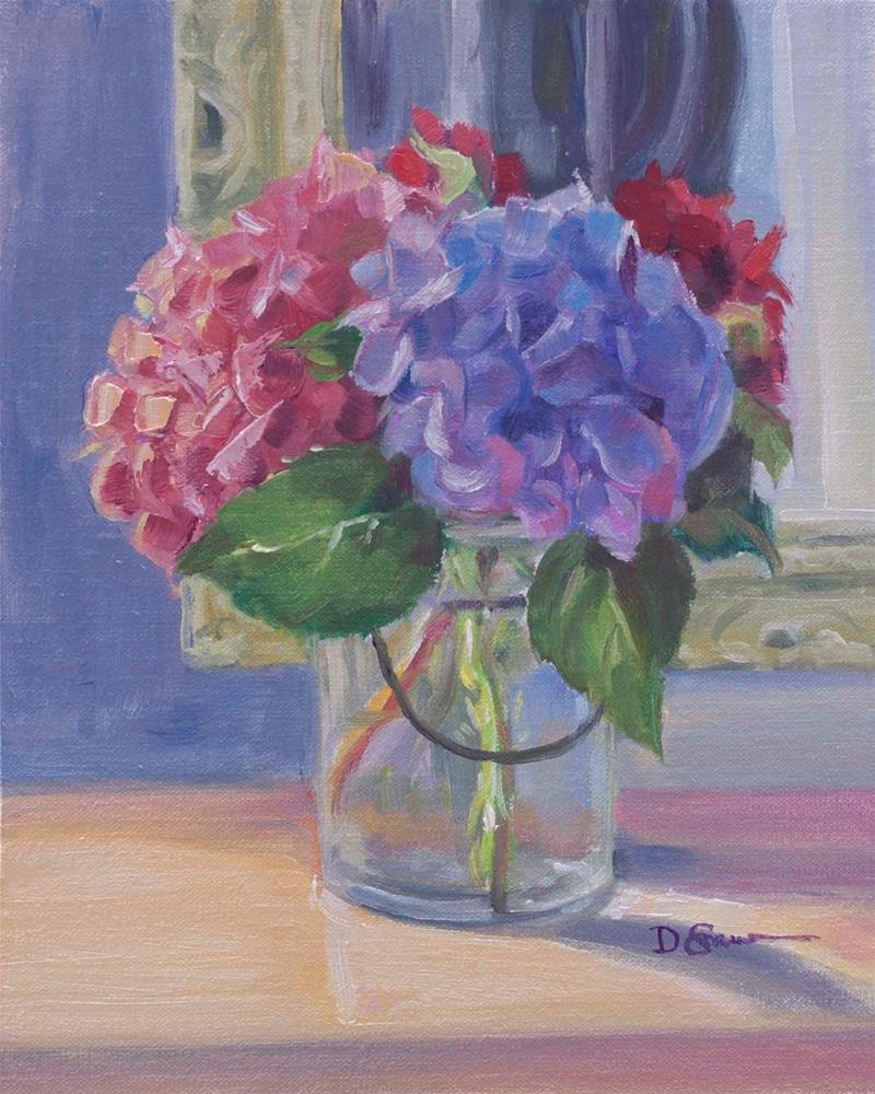 """Hydrangeas in a Vase"" original fine art by Deborah Savo"