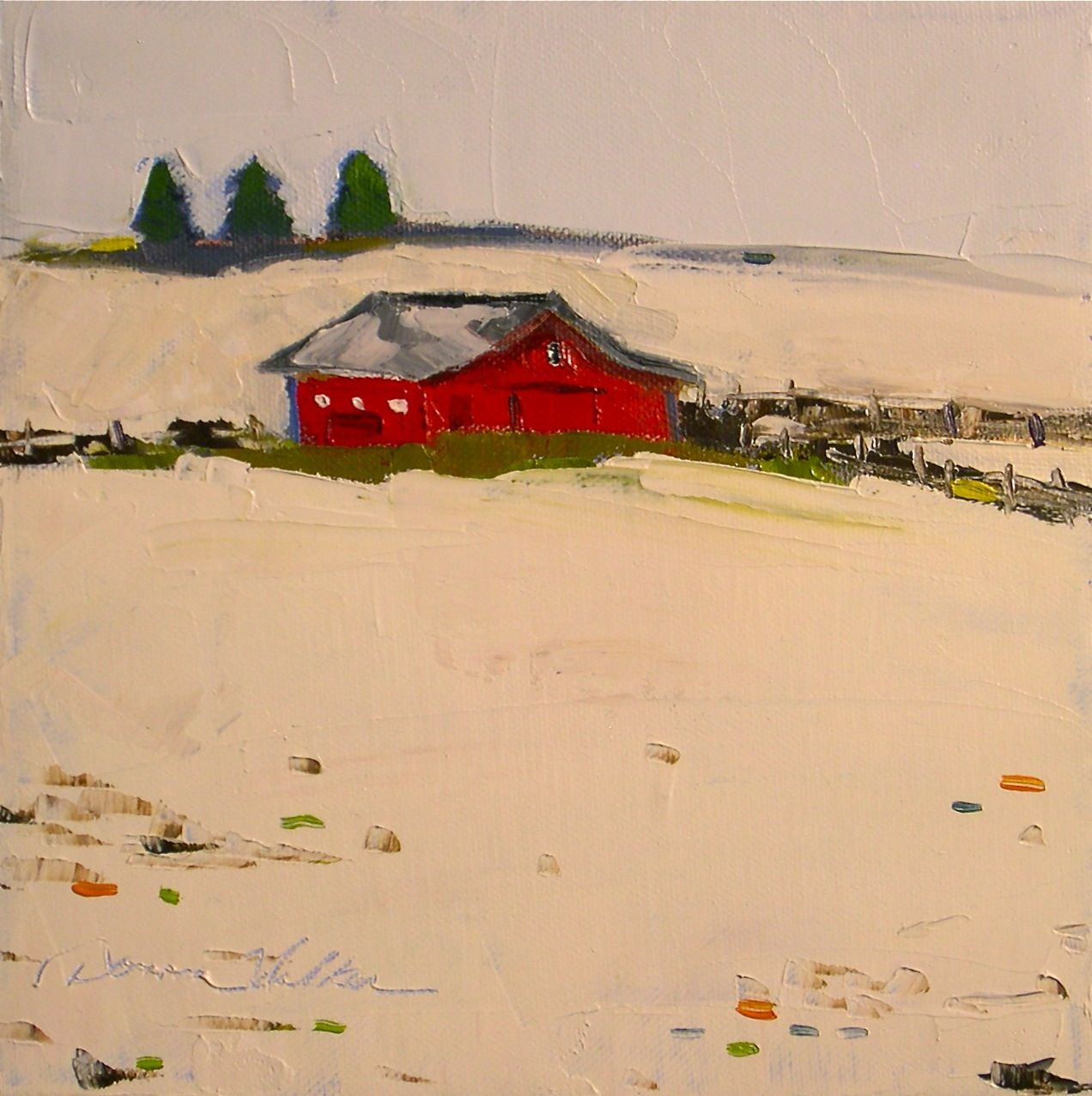 """Red Barn in Snow II"" original fine art by Donna Walker"