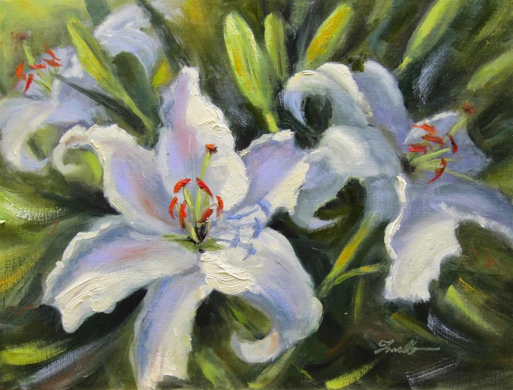 """Garden Lilies"" original fine art by Pat Fiorello"