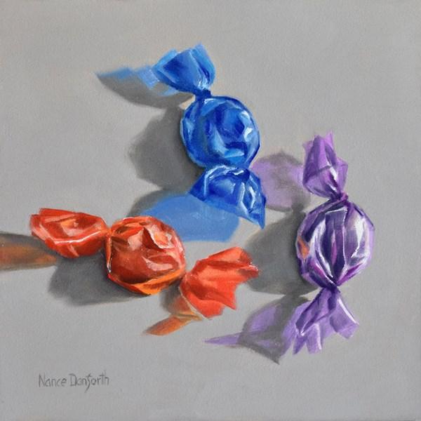 """""""Three Candies"""" original fine art by Nance Danforth"""