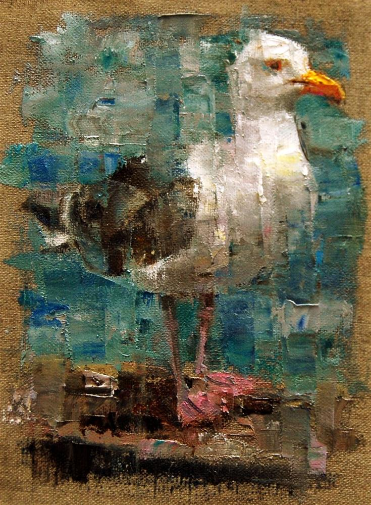 """Meet Mr. Gull for the Birdbrain Challenge"" original fine art by Julie Ford Oliver"