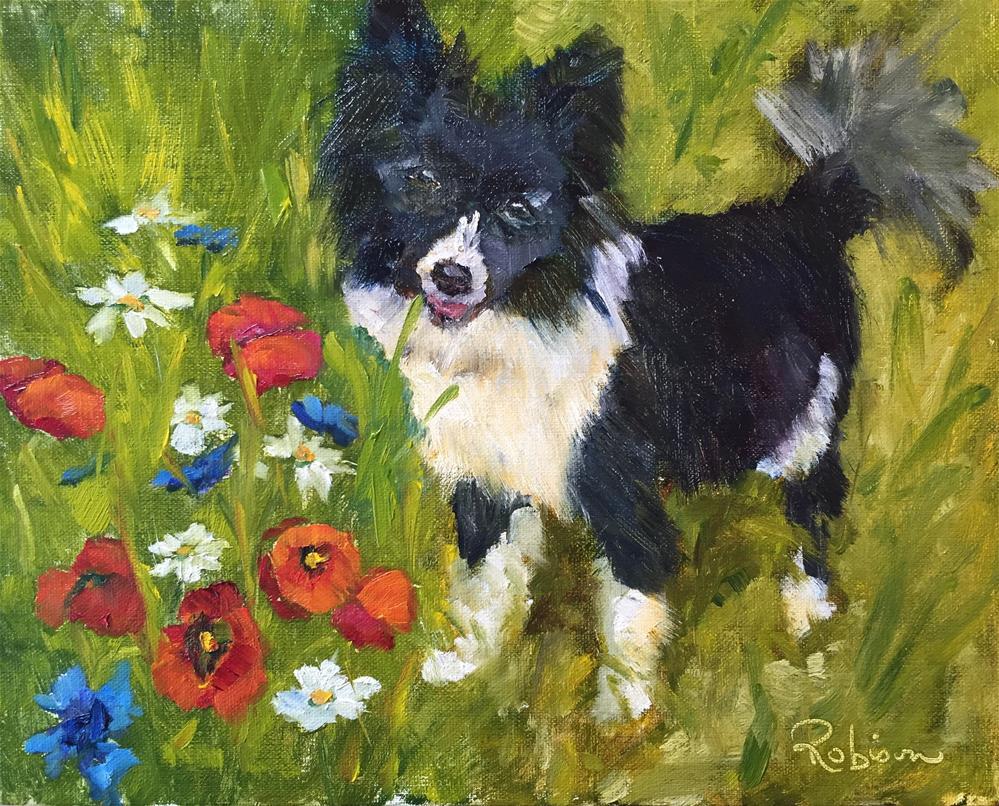 """""""Poppy Loving Puppy"""" original fine art by Renee Robison"""