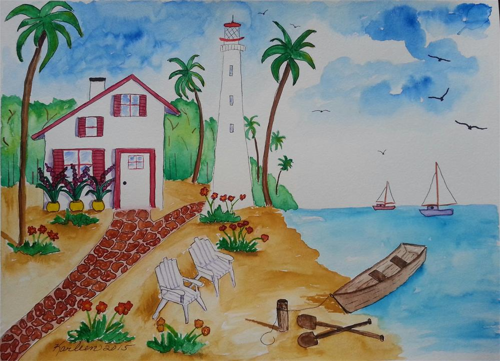 """Life By the Sea"" original fine art by Karleen Kareem"