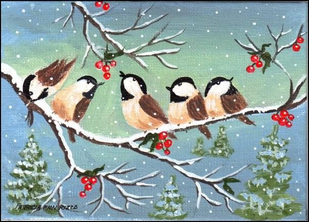 """""""Winter Chickadees"""" original fine art by Patricia Ann Rizzo"""