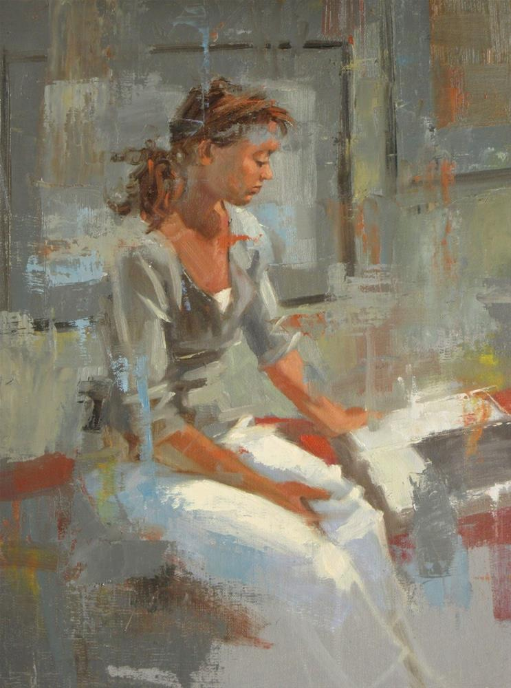 """""""Reading about Anatomy  12in x 9in  oil"""" original fine art by Claudia Hammer"""