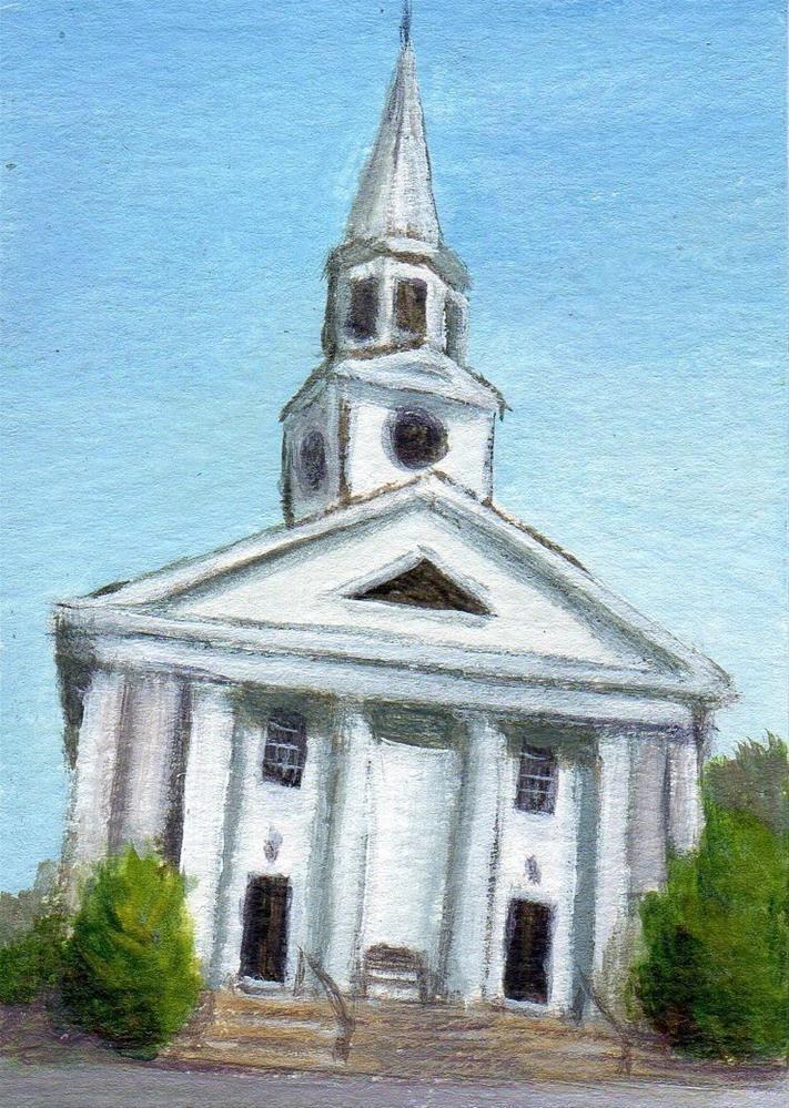 """First Church Wenham"" original fine art by Debbie Shirley"