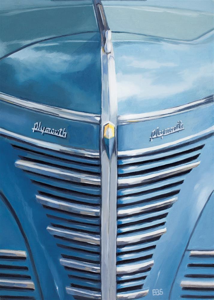 """1939 Blue Plymouth Grill"" original fine art by Elaine Brady Smith"