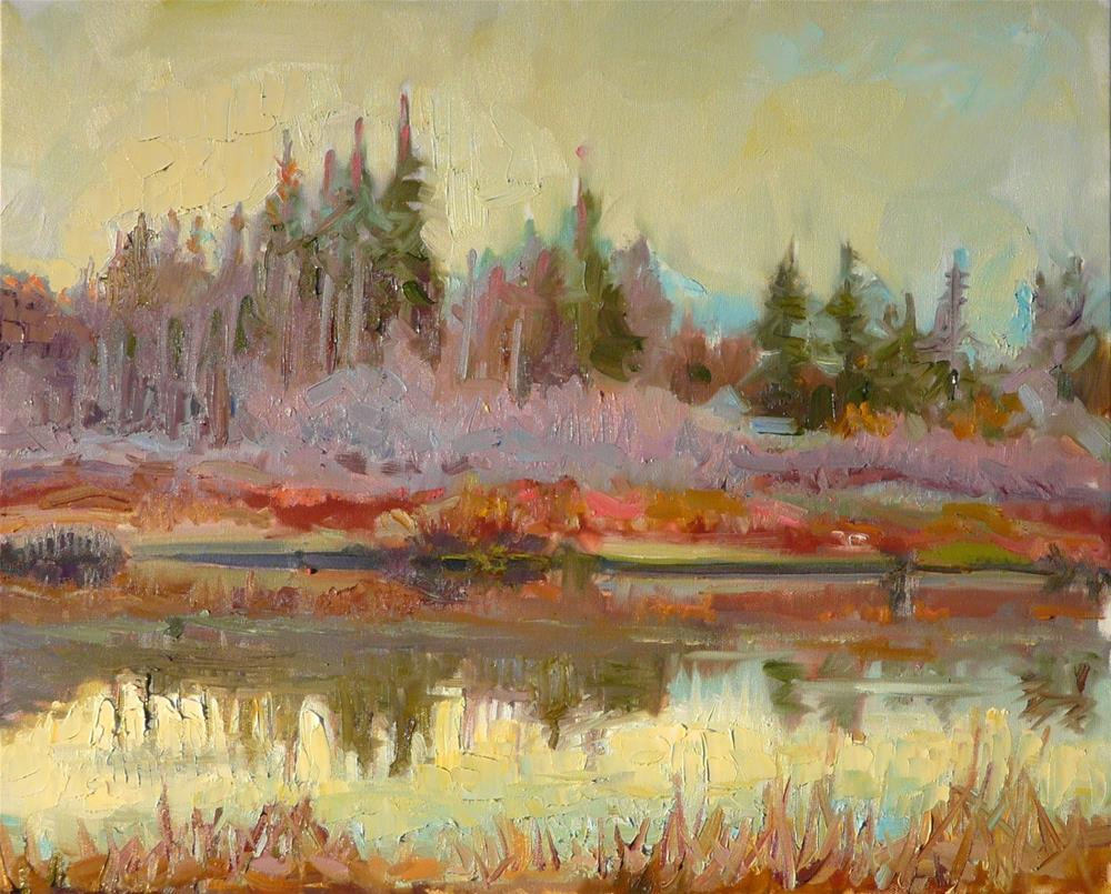 """Winter on the Lagoon,landscape,oil on canvas,16x20,priceNFS"" original fine art by Joy Olney"