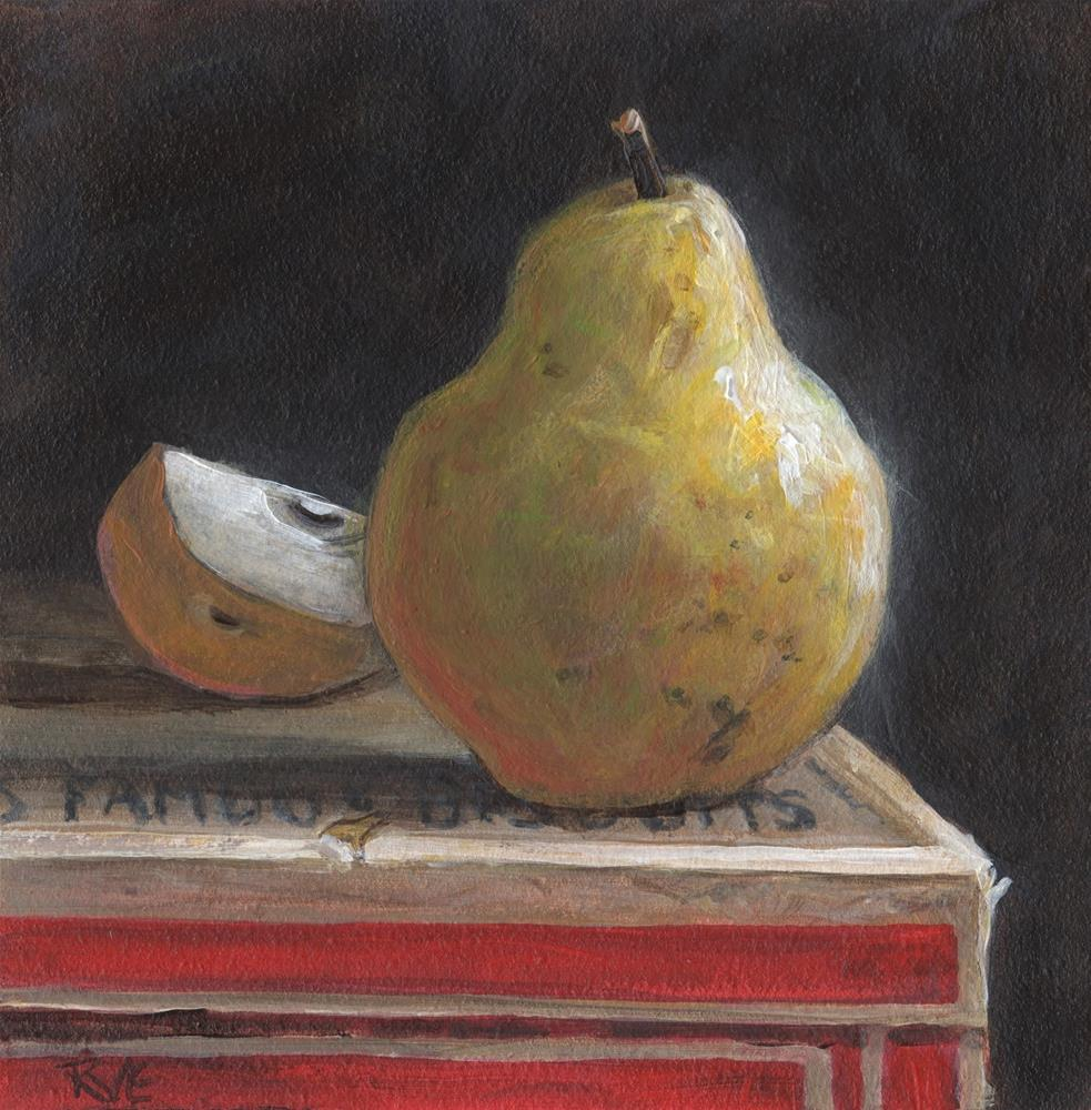 """#93 Pear and slice"" original fine art by Ruth Van Egmond"