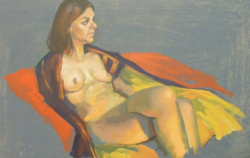 """Nude with cape"" original fine art by Peter Orrock"