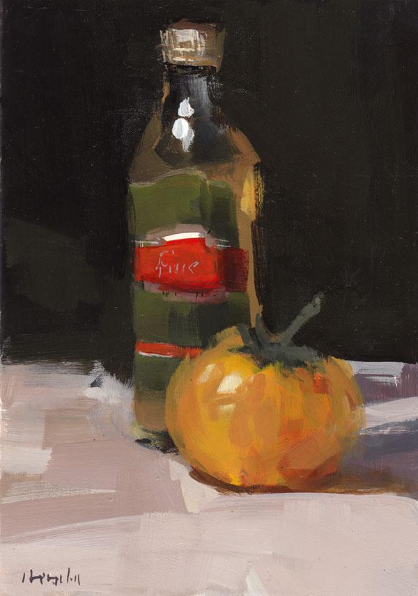 """Yellow Tomato and Oil"" original fine art by David Lloyd"