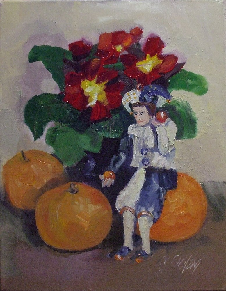 """Primrose, Jester and the Cuties"" original fine art by Cheryl Williams Dolan"