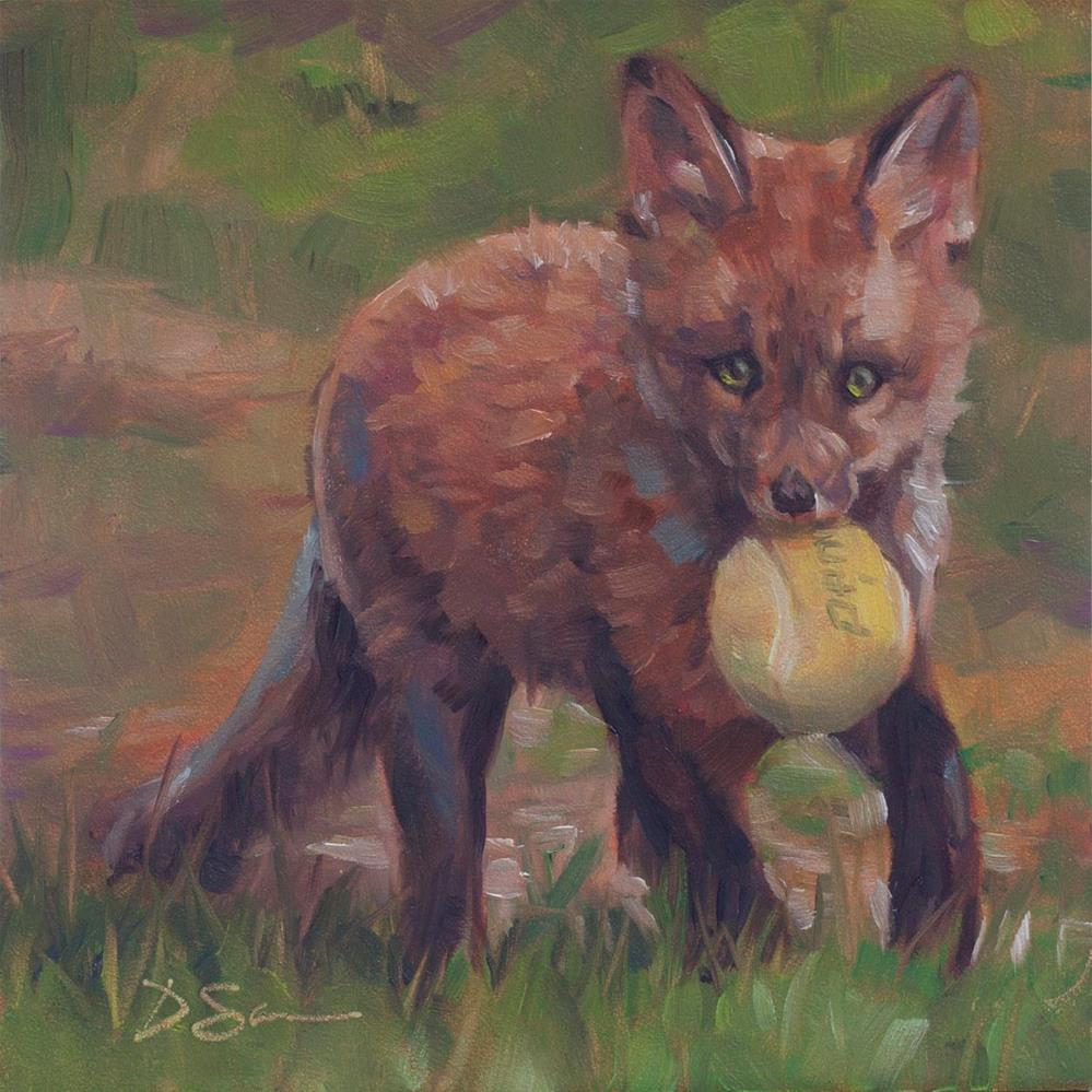 """Eyes of Love No.8 Fox with Ball"" original fine art by Deborah Savo"