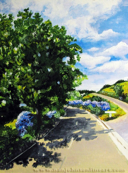"""Road with Blue Flowers"" original fine art by Nan Johnson"