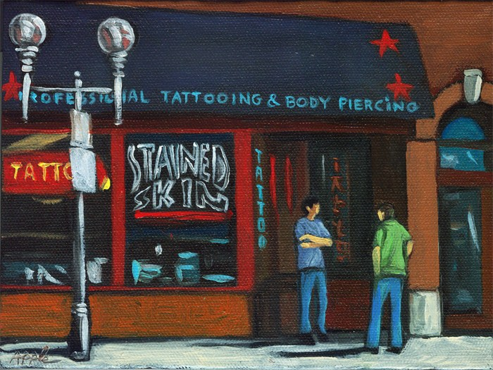 """Tattoo Shop"" original fine art by Linda Apple"