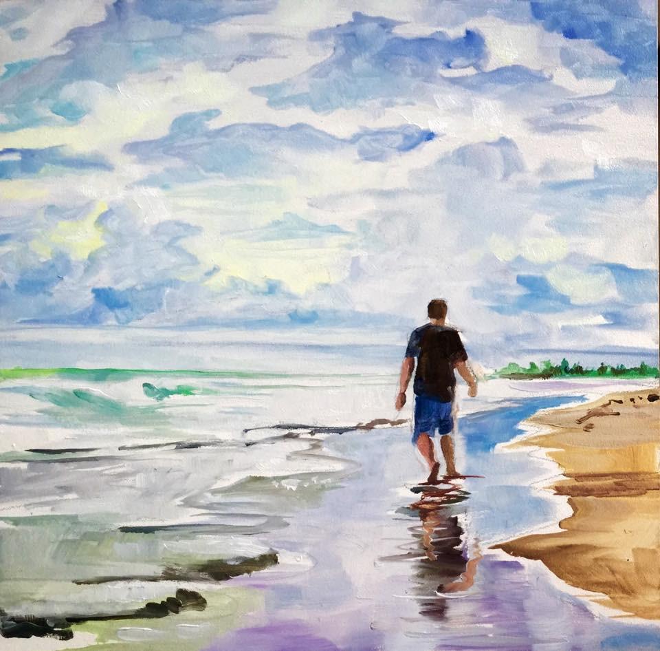 """""""Beachcomber"""" original fine art by Lauren Kuhn"""