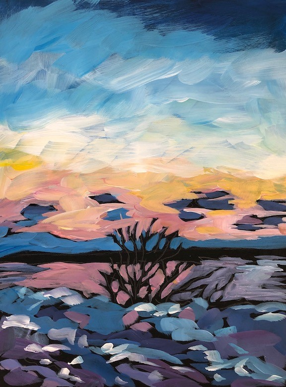 """Max's Duluth Sunset Shot"" original fine art by Kat Corrigan"