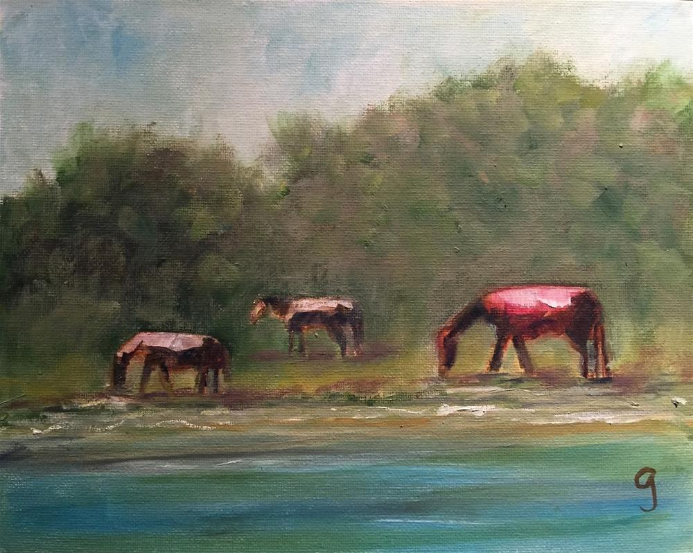 """Carrot Island Horses"" original fine art by Gayle Lambeth"