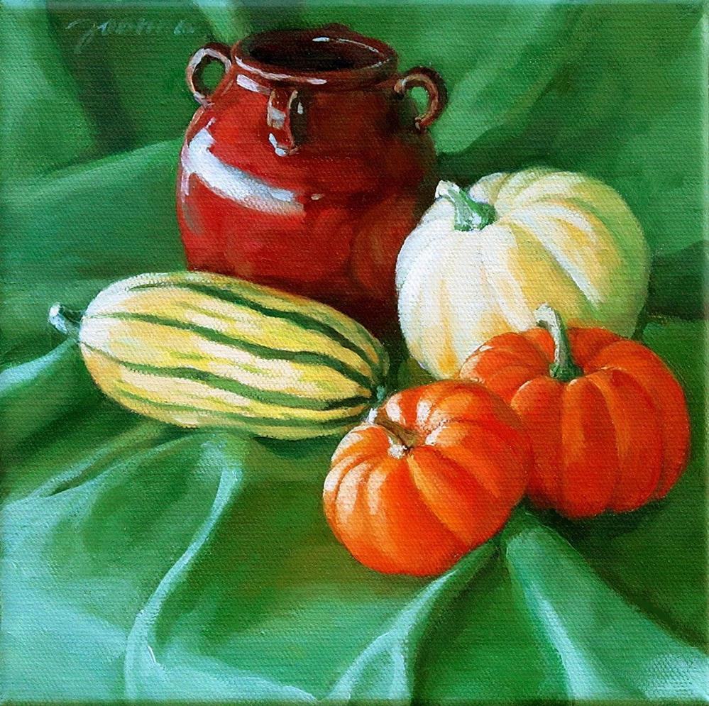 """Autumn's Greeting--Still life with pumpkins and squashes"" original fine art by Joanna Bingham"
