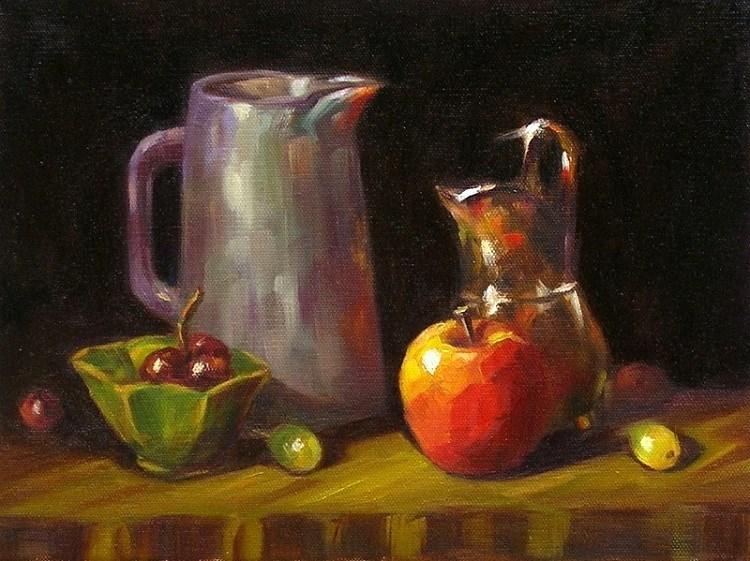 """""""Still Life with an Apple"""" original fine art by Irina Beskina"""
