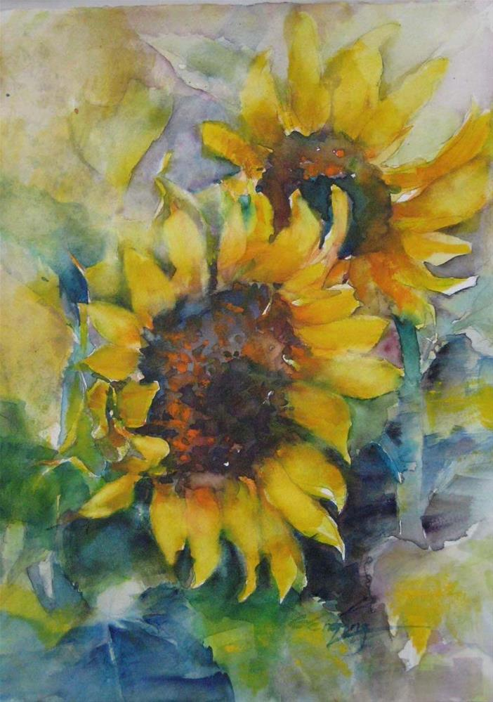 """sunflower in JUNE1"" original fine art by Wenqing Xu"