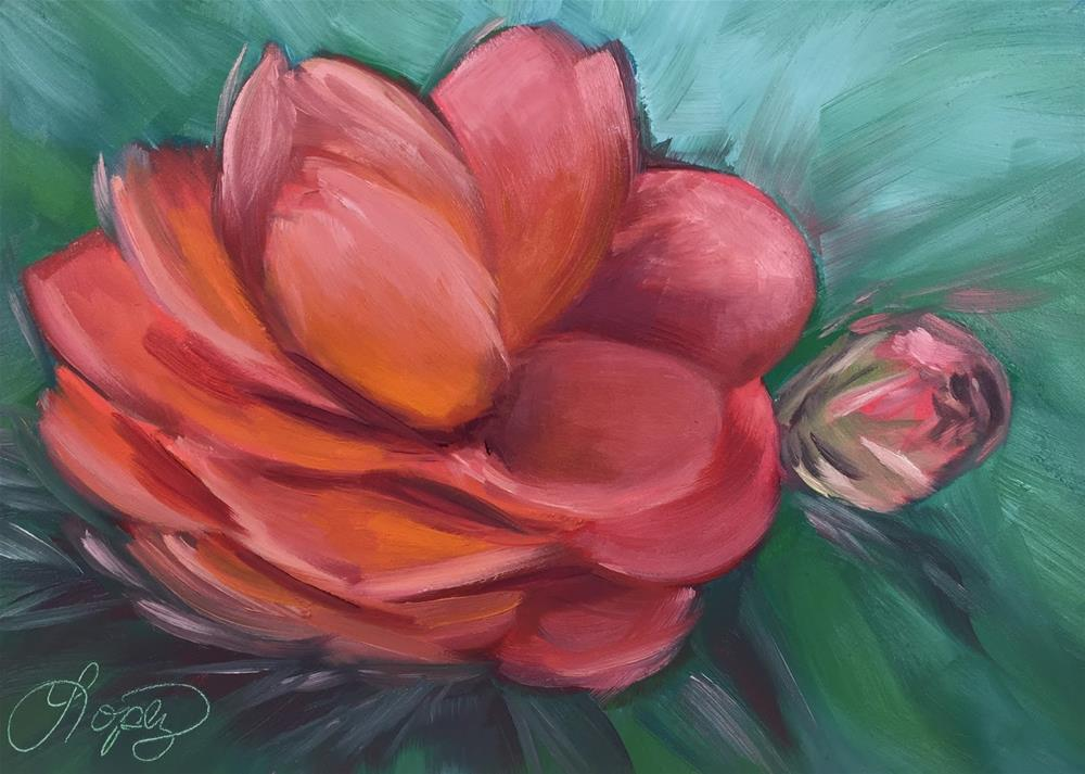 """34. Front Yard Camellia"" original fine art by Gema Lopez"