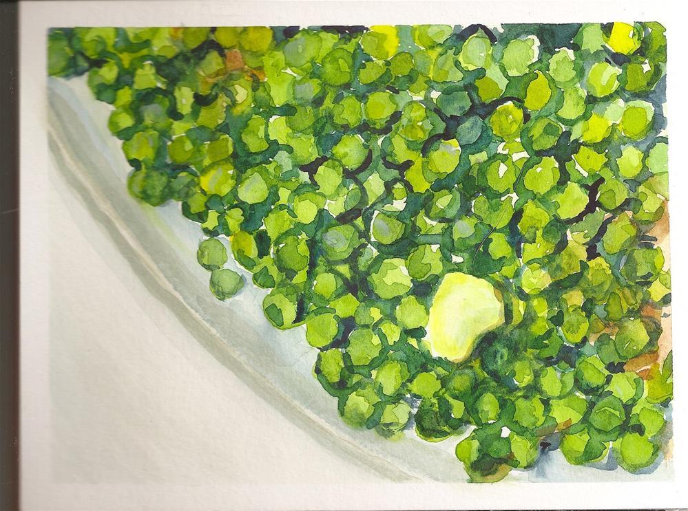 """""""Sweet Green Peas"""" original fine art by Jean Krueger"""