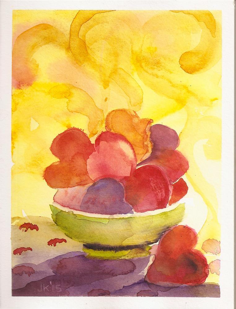 """""""Steaming Hearts"""" original fine art by Jean Krueger"""