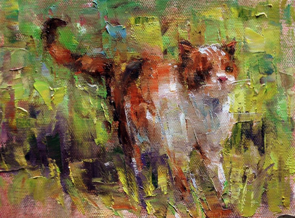 """Cat in Sun"" original fine art by Julie Ford Oliver"