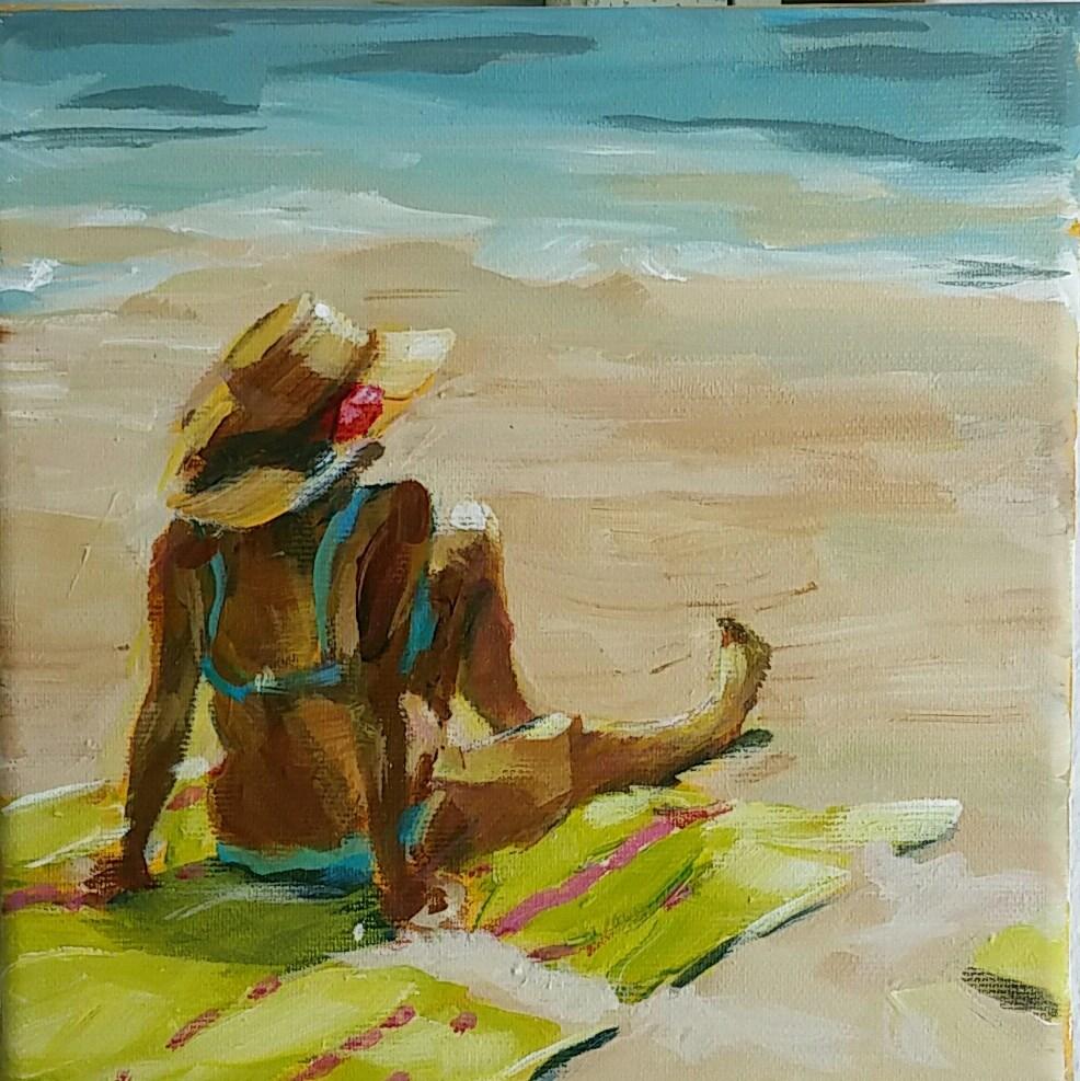 """On the Beach"" original fine art by Sabine Hüning"