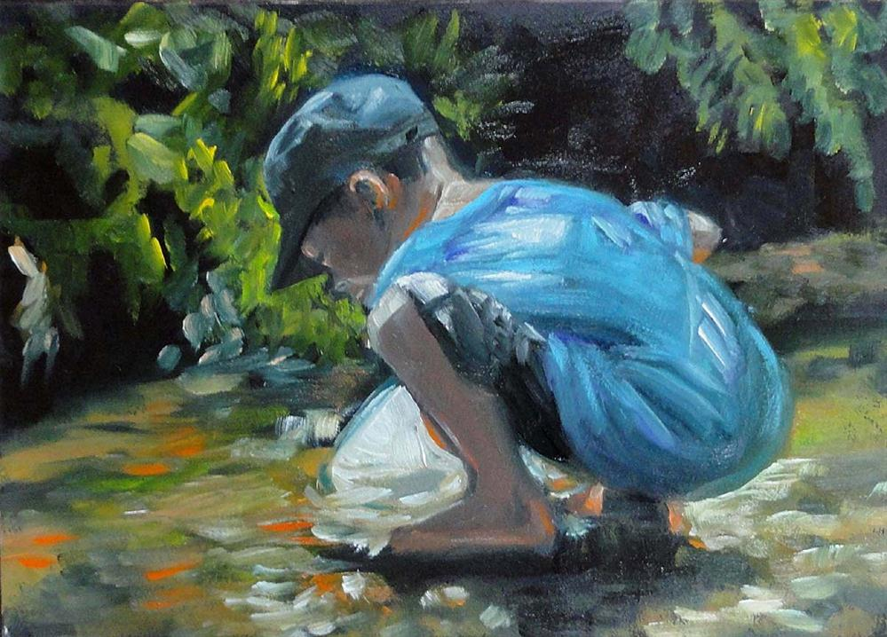 """Catching Water Bugs"" original fine art by Cietha Wilson"