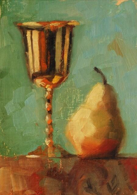 """No. 634 Golden Goblet with Pear"" original fine art by Susan McManamen"