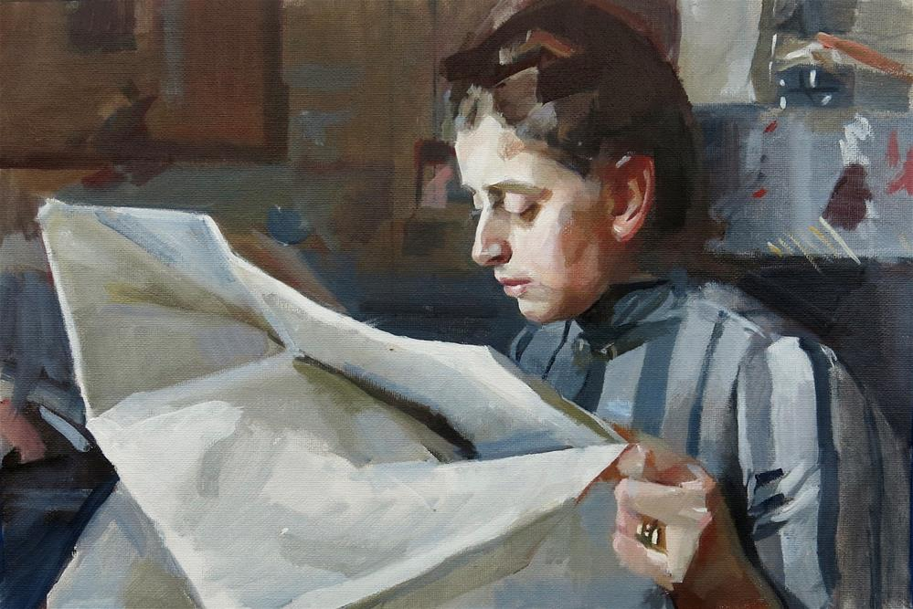 """After Anders Zorn's Emma Zorn Reading"" original fine art by Taryn Day"