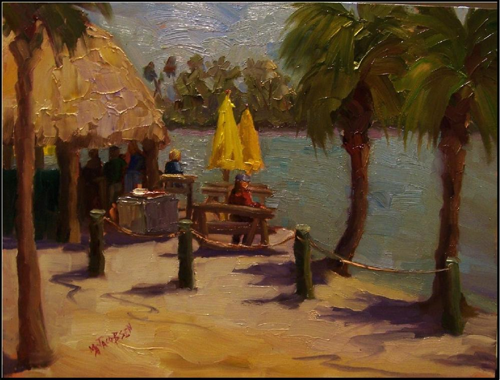 """""""TUesday's at O'Leary's Tiki Bar, 12x16, oil on gessoboard, plein air"""" original fine art by Maryanne Jacobsen"""