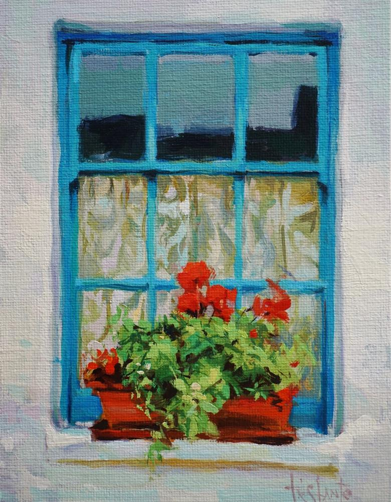 """Flowers in the ledge"" original fine art by Víctor Tristante"
