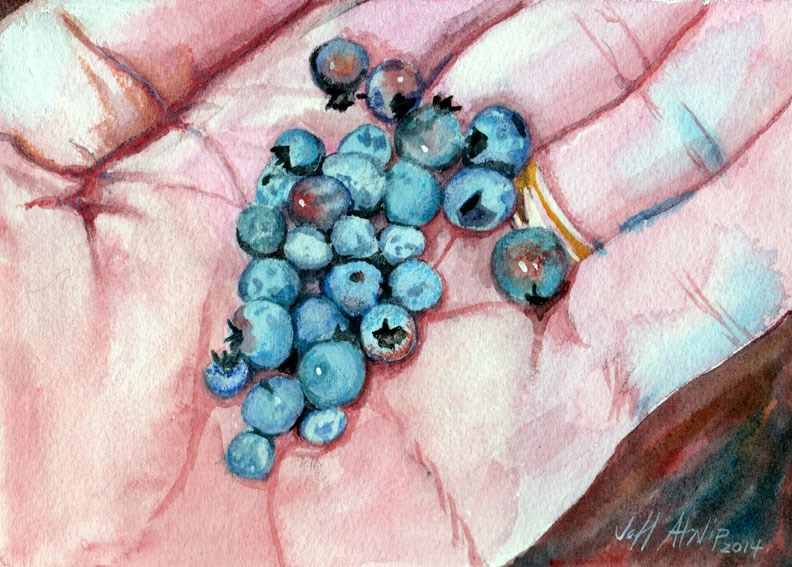 """Wild Blueberries"" original fine art by Jeff Atnip"