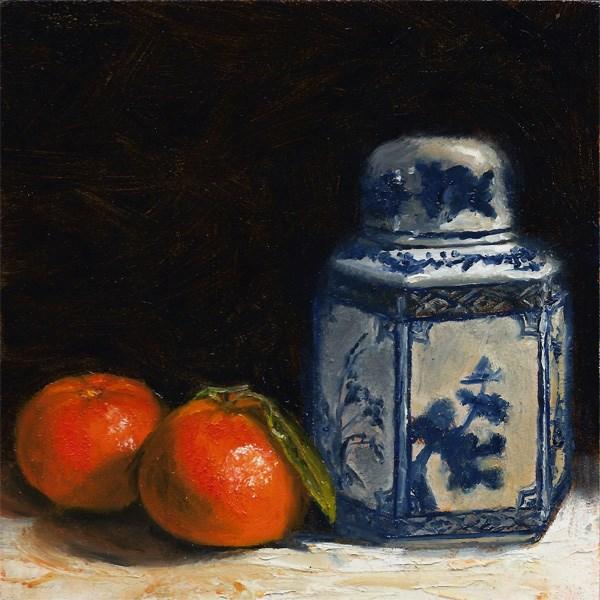 """Clementines with ginger jar #2"" original fine art by Peter J Sandford"