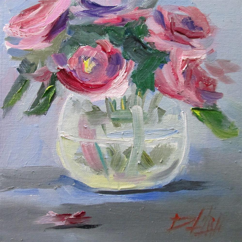 """Vase of Roses"" original fine art by Delilah Smith"