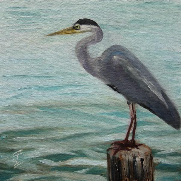 """Heron on a Post"" original fine art by Jane Frederick"