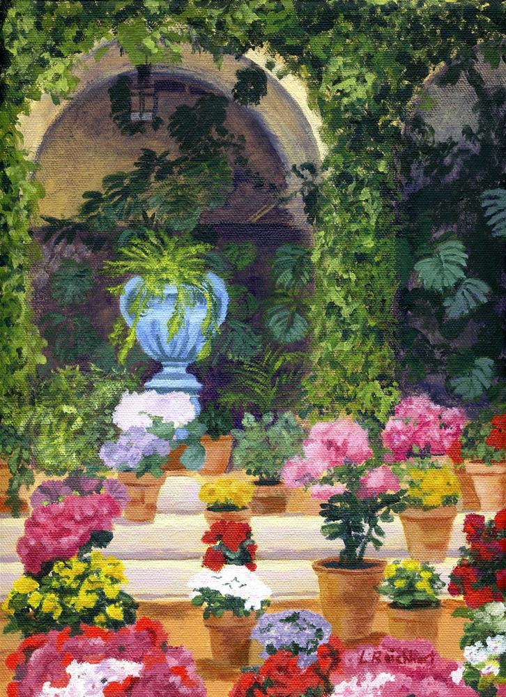 """""""Spanish Courtyard"""" original fine art by Lynne Reichhart"""
