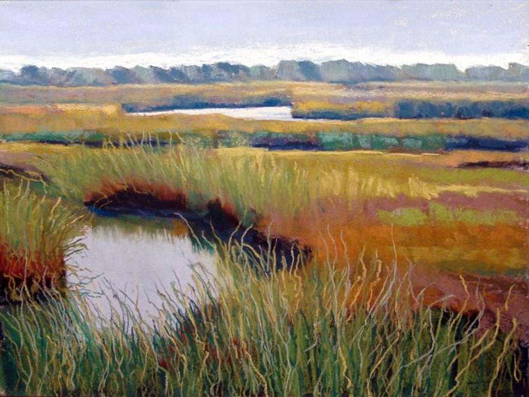 """Cape Cod salt marsh painting"" original fine art by Ria Hills"