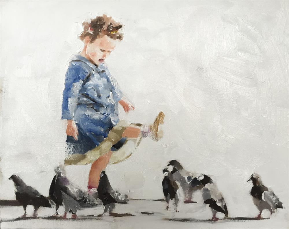 """Amongst the Pigeons"" original fine art by James Coates"